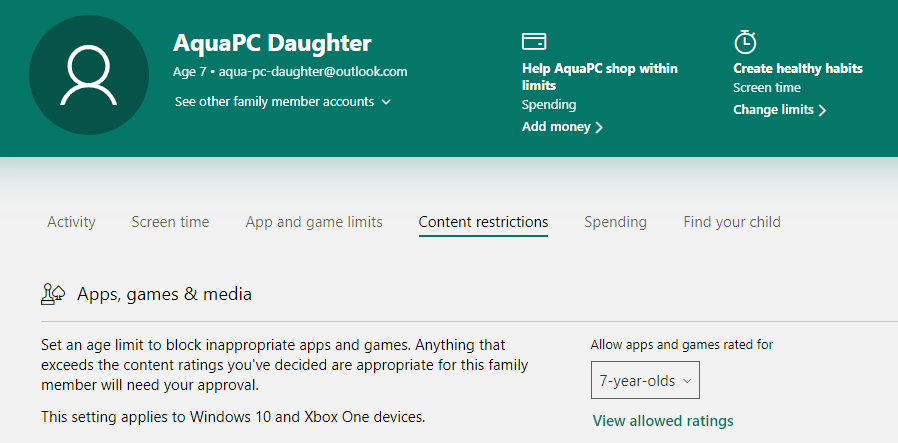Microsoft Family Safety Spending Restrictions - Content Restrictions Age Ratings
