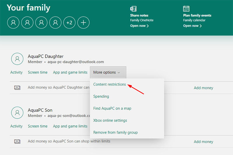 Microsoft Family Safety Spending Restrictions - Content Restrictions Menu