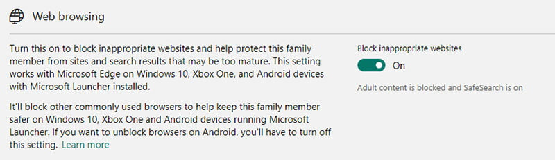 Microsoft Family Safety - Content Restrictions Web Browsing
