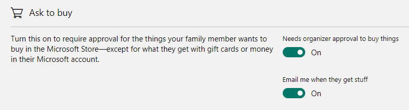 Microsoft Family Safety Spending Restrictions - Ask to Buy