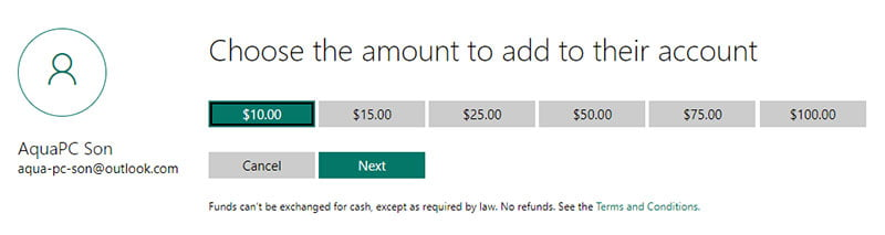 Microsoft Family Safety Spending Restrictions - Choose Amount to Add