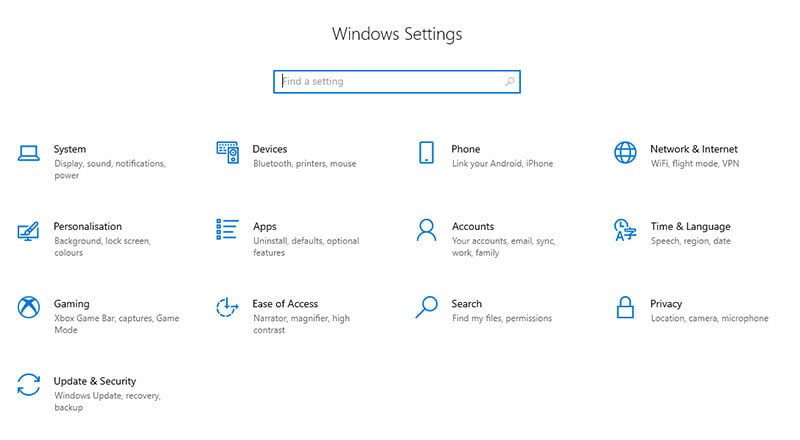Windows 10 Settings Screenshot