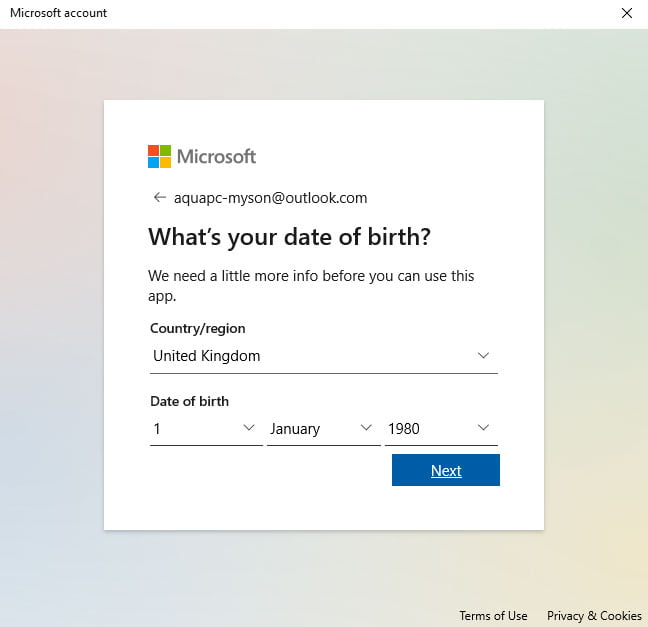 Windows 10 Family Accounts Date of Birth
